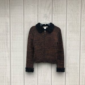 Le Moda wool brown & black zippered sweater jacket